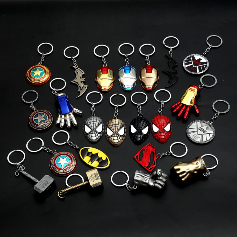 Super Hero Super Man Batman Spider Man Thor Hammer Iron Man Captain America The Agents of Shield Keychain Pendants For Bag