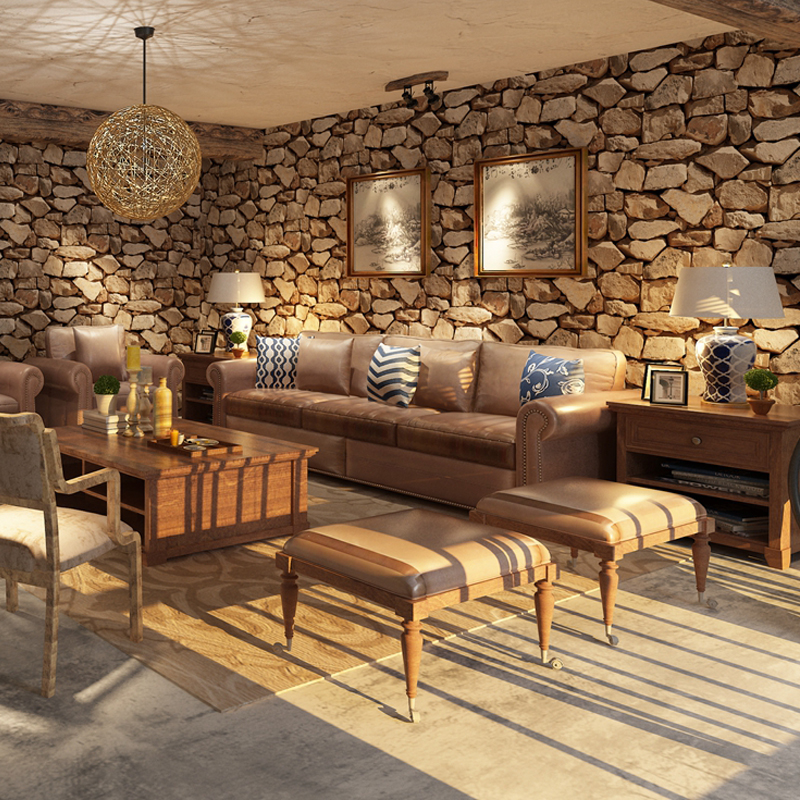 Image 5 - Waterproof Vintage 3D Stone Effect Wallpaper Roll Modern Rustic Realistic Faux Stone Texture Vinyl PVC Wall Paper Home Decor3d stone wallpaperstone wallpapervintage wallpaper -