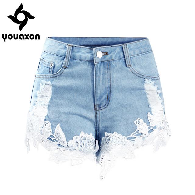 Women Elegant Modern Fashion Summer Style Mid Waist Lace Floral Ripped Denim Shorts