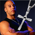 Hot Sale Men Cross Pendant Necklace Movie Jewelry The Fast and Furious Dominic Toretto Classic Male Cross Silver Plated Necklace