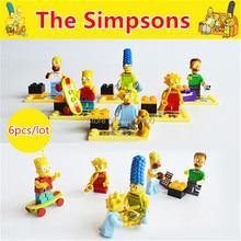 2015 Kids DIY Blocks Bricks Plastic Buidling Toys Model Kit Simpsons Anime Mini Figures Educationla Learning Toys Gifts 6pcs/lot