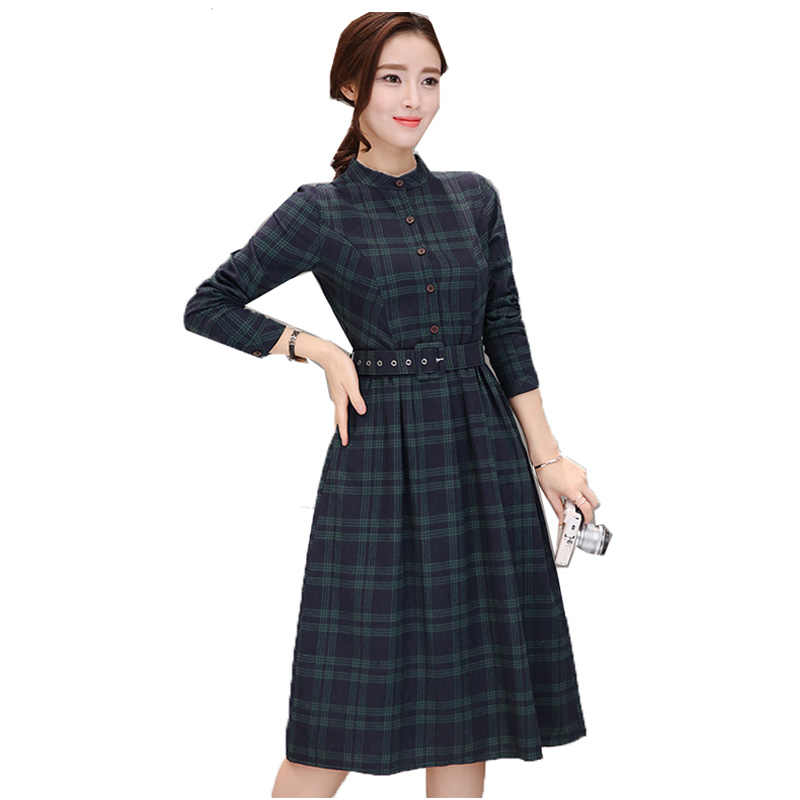 895915638b Women Dress Spring Long Sleeve O-neck Plaid Dresses Plus Size Ladies  Clothes Female Elegant Frocks Vestido Vintage Dress HQB64