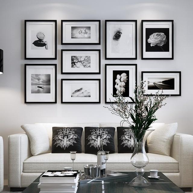 9pieces set collage frames wooden photo frame creative modern wall photo frames european style. Black Bedroom Furniture Sets. Home Design Ideas
