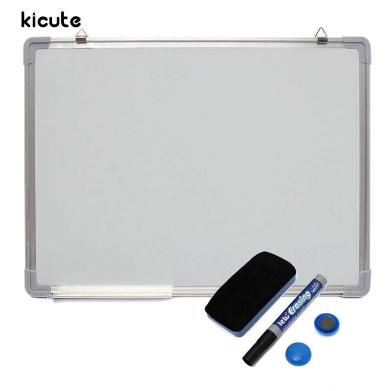 Kicute 600x450MM Magnetic Whiteboard Writing Board Double Side With Pen Erase Magnets Buttons For Office School image