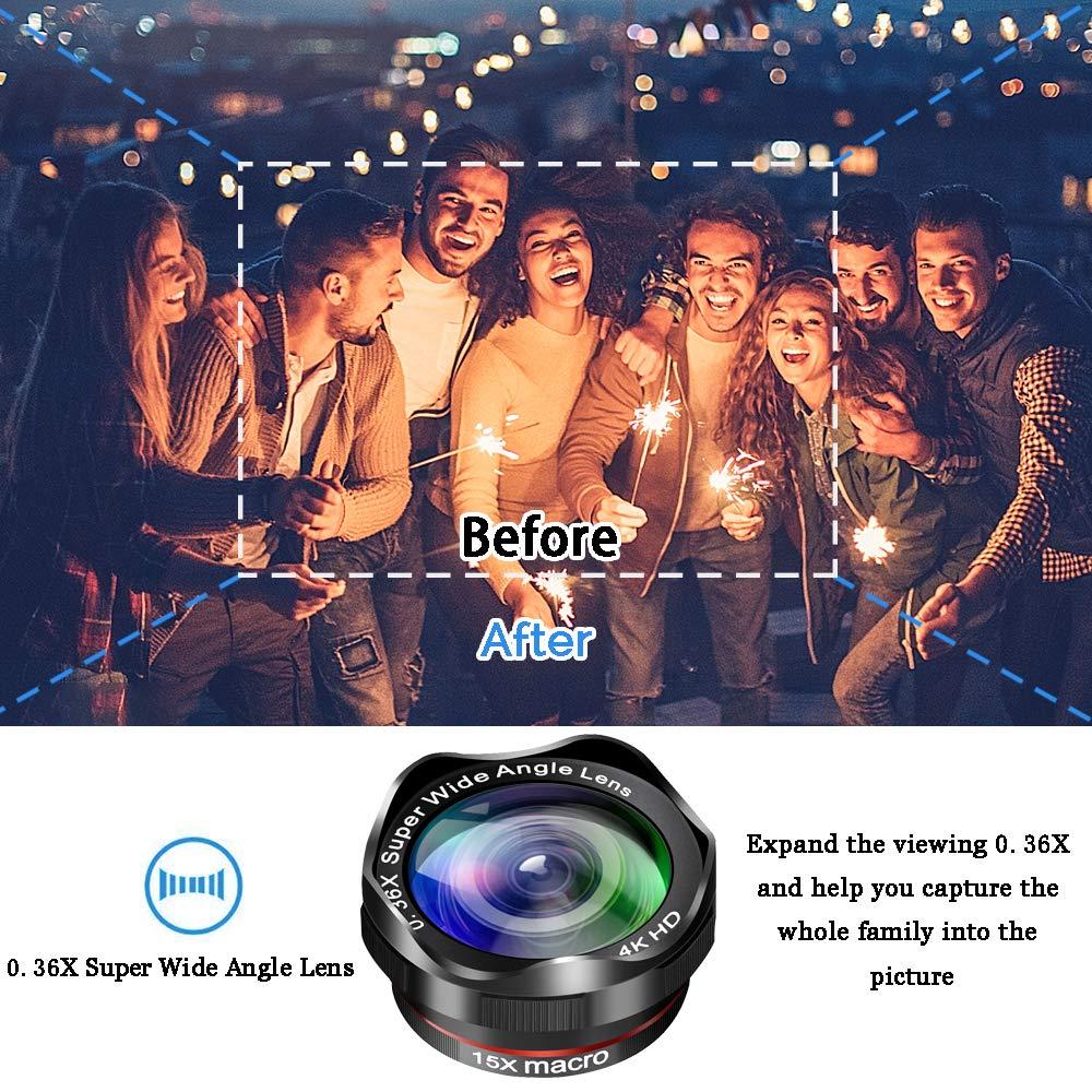 Mise à niveau des kits de caméra de téléphone DSLR Lent: Super Fisheye & 0.36X grand Angle & 15X Macro objectif (2 objectifs) & 12X Zoom téléobjectif pour Android - 2