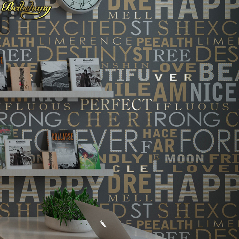 Beibehang moderne minimaliste anglais alphabet fonds d'écran pour salon mode vêtements magasin personnalité boutique papier peint rouleau