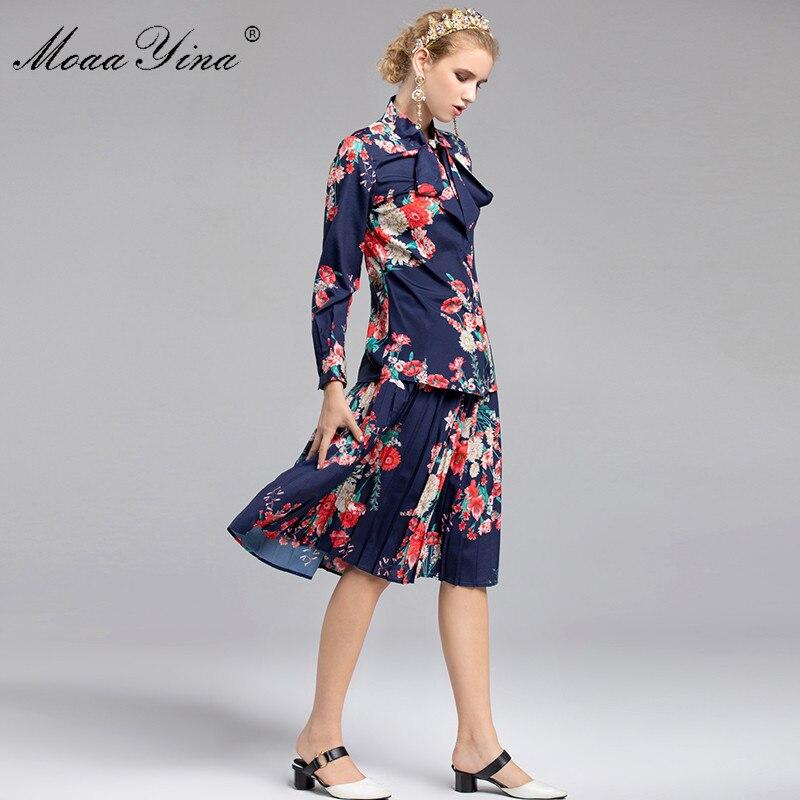 MoaaYina Fashion Designer Set Spring Women Long sleeve Bow collar loveliness Elegant Print Shirt+Pleated Skirt Two-piece suit