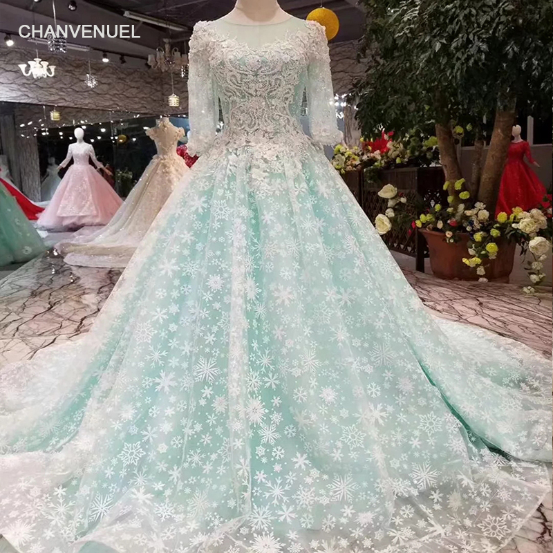 LSS373 blue evening party dress with court train o neck long sleeves evening gown princess girls pageant dresses free shipping