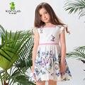 Borboletas Impressão KAMIWA 2017 Verão Babados de Algodão Do Bebê Meninas Vestidos de Princesa Festa Flor Crianças Roupas Roupa Dos Miúdos