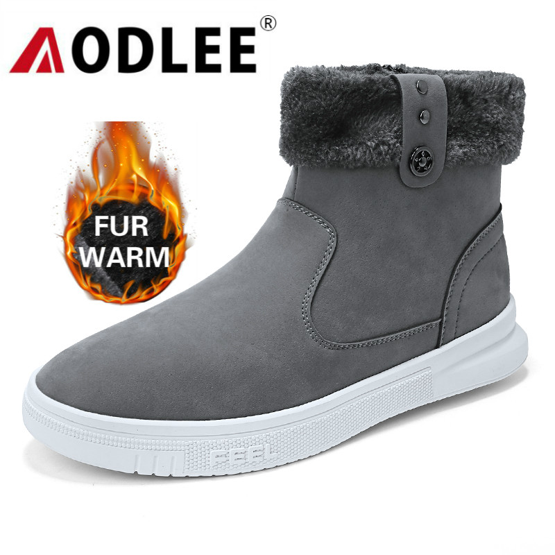 AODLEE Boots Men Fashion Winter With Fur Snow Boots For Men Sneakers Male Shoes Casual Rubber Ankle Warm Boots Botas Hombre