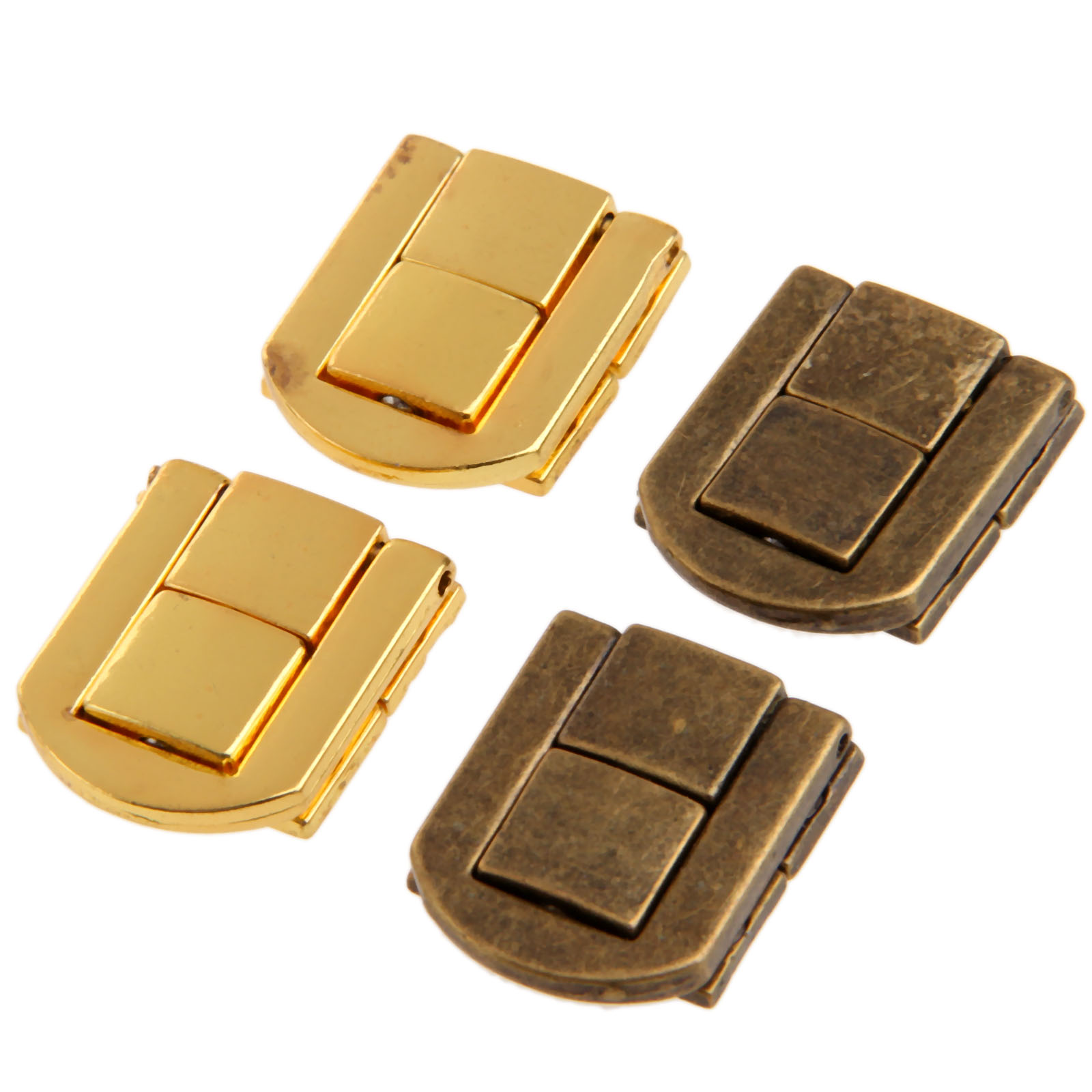 1Pc Antique Bronze/Gold Jewelry Chest Gift Wine Wooden Box Case Toggle Latch Hasp Leather Bag Handbag Purse Lock W/Screw 25x20mm