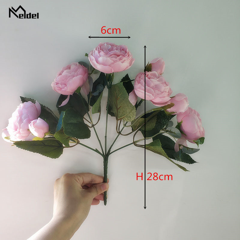 artificial flowers roses silk peony wedding bouquet