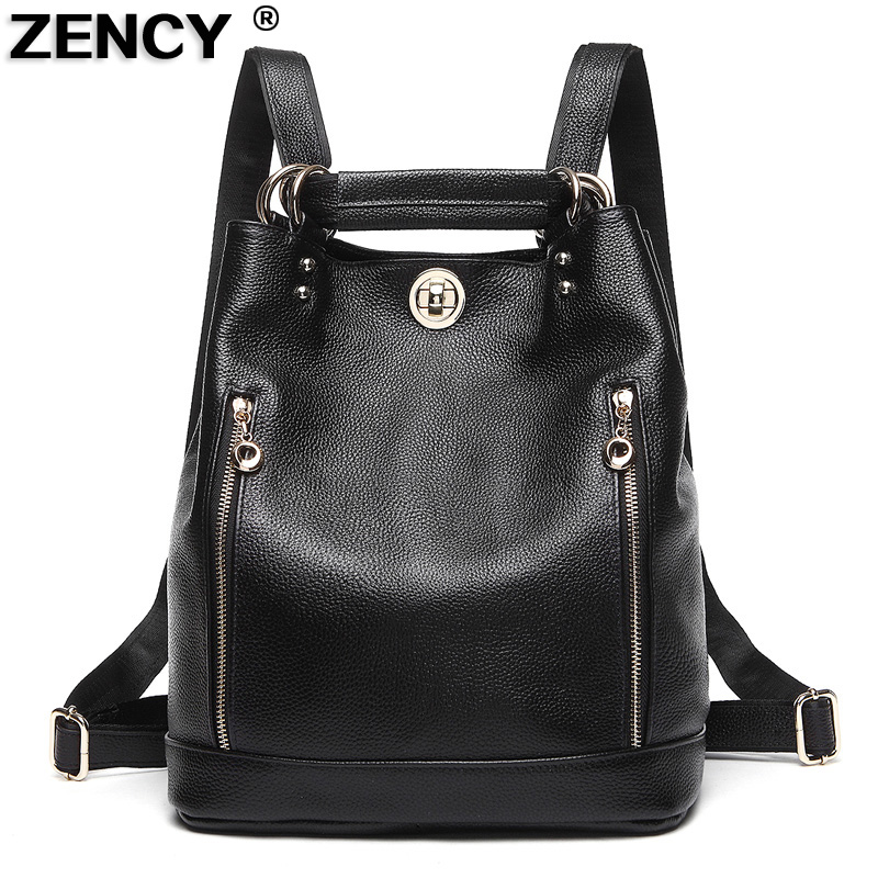 ZENCY Large Capacity Soft Genuine Leather Women's Cowhide Backpacks Ladies' Laptop Shopping Casual Bags Female Ipad Travel Bag