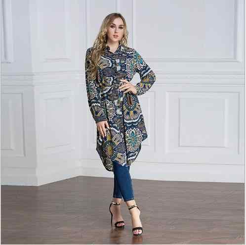 Muslim Bluse Frauen Tops Lange Druck Hemd Kleid Abaya Top Türkei Islam Ramadan Arabisch Dubai Islamische Kleidung Plus Größe 6XL 7XL