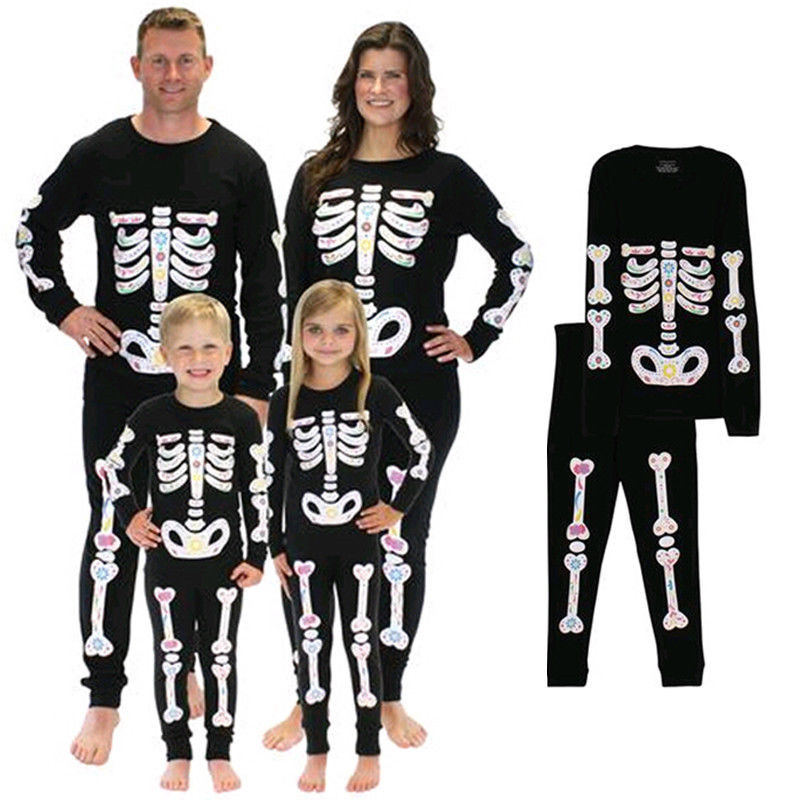 Family Match Skeleton Zombie Party Halloween Costumes Children Bones Scary Bloody Horror Cosplay Costumes Men Women Pajamas Set