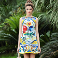 2016 Runway Fashion Designer Dress High Quality Summer Women Straight Above Knee Geometric Print Sleeveless Tank Dress Brand