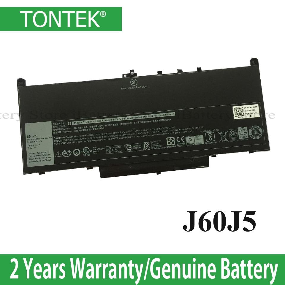 TONTEK Genuine J60J5 Laptop Battery For Dell Latitude E7270 E7470 J60J5 R1V85 MC34Y 242WD 7.6V 55Wh