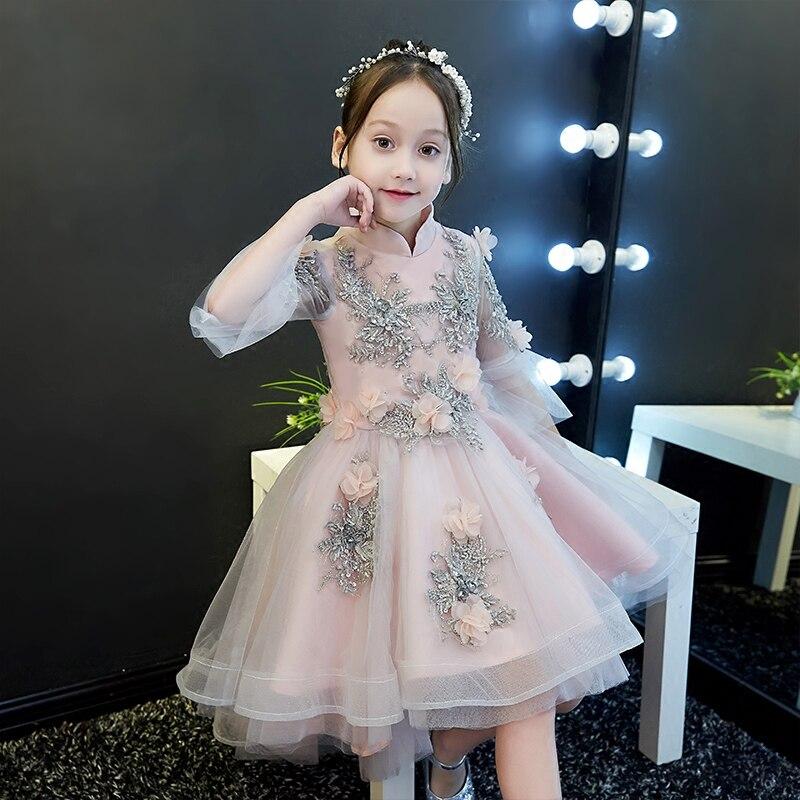 Children Girls Elegant Appliques Beading Birthday Wedding evening Party Dress Baby Fashion Ball Gown Back Long Front Short Dress
