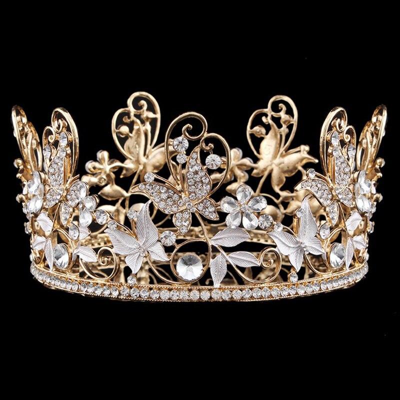 Vintage feuille d'or ronde grande couronne de mariée en cristal bijoux de cheveux couronnes de mariage diadème Baroque femmes accessoires chapeaux chapeaux