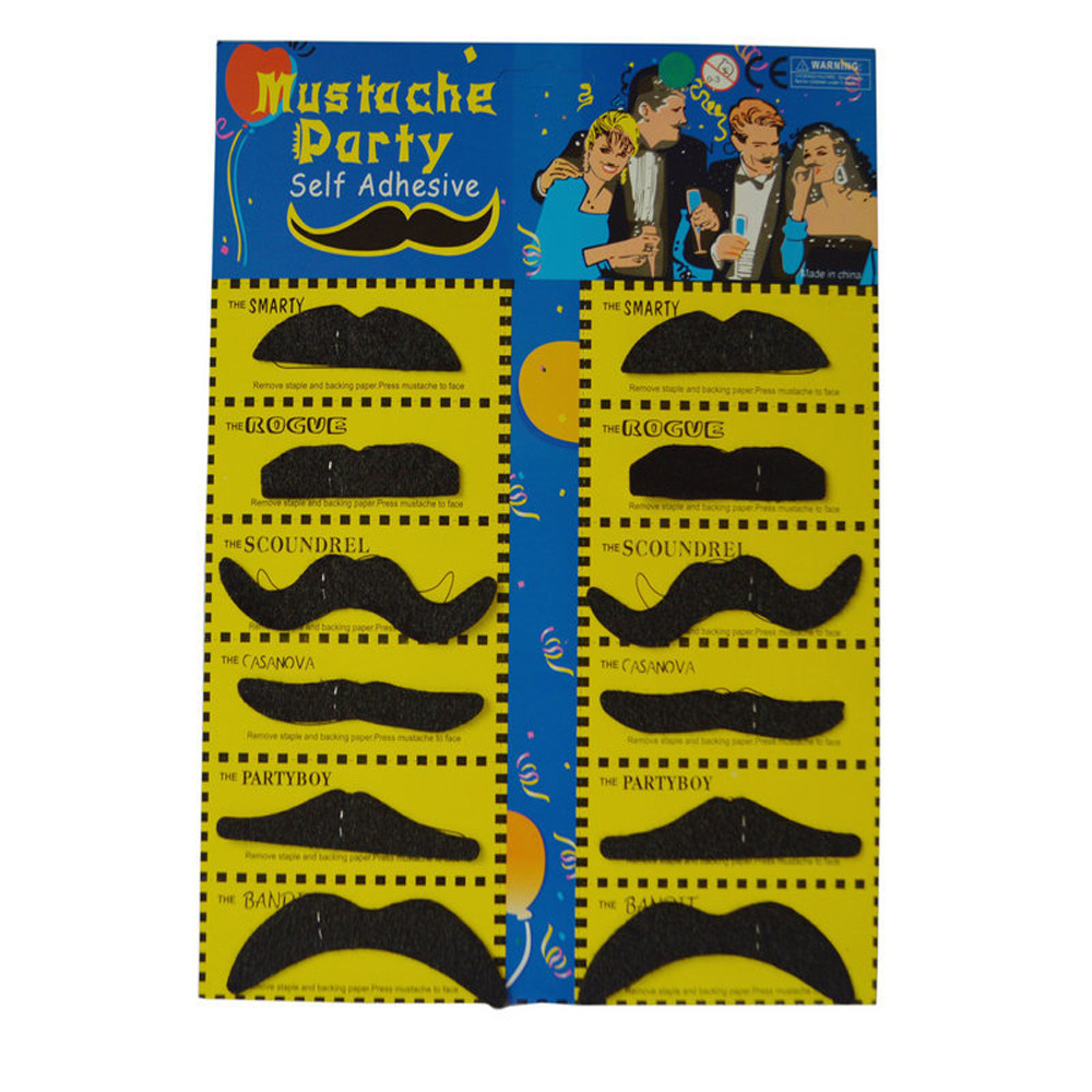 Hot Sale Halloween Necessary 12pcs Costume Party cosplay Halloween Funny Fake Mustache Moustache Beard Whisker Scary Costumes(China)