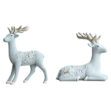 Europe Style Simple Deer Miniatures Model Blue Resin Crafts Creative Figurines Wedding Garden Home Decoration Accessories
