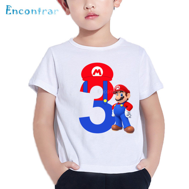 Happy Birthday Cartoon Super Mario 1 9 Letter Print Kids T Shirt Baby Funny Boy Girl Number ClothesHKP5233