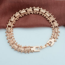 3 Style Women Smooth/Carve Beads Geometric Bracelets Rose Gold Color Strand Round Ball Chains Bracelets(China)