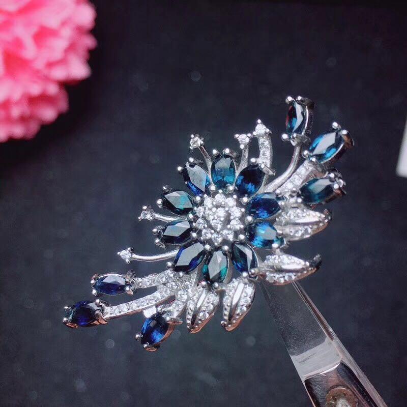 Luxurious silver sapphire pendant sapphire gemstone necklace pendant solid 925 silver gem pendant