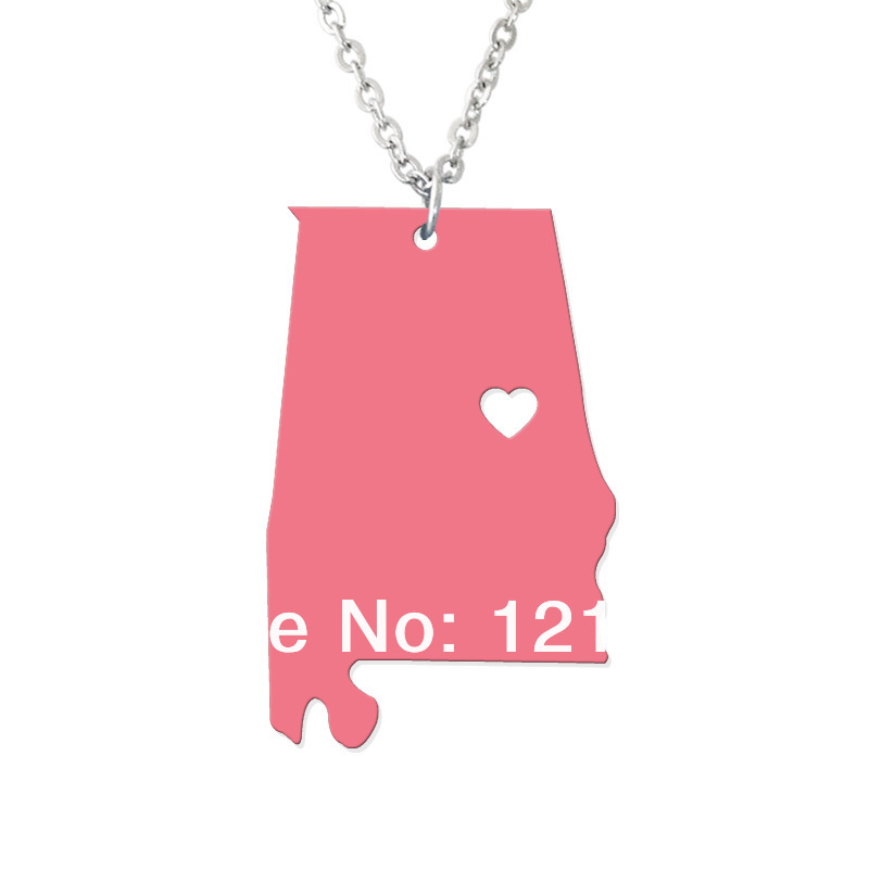 Personalized State Necklace - I heart Alabama Necklace - Custom Map Pendant - Acrylic State Charm - Map necklace