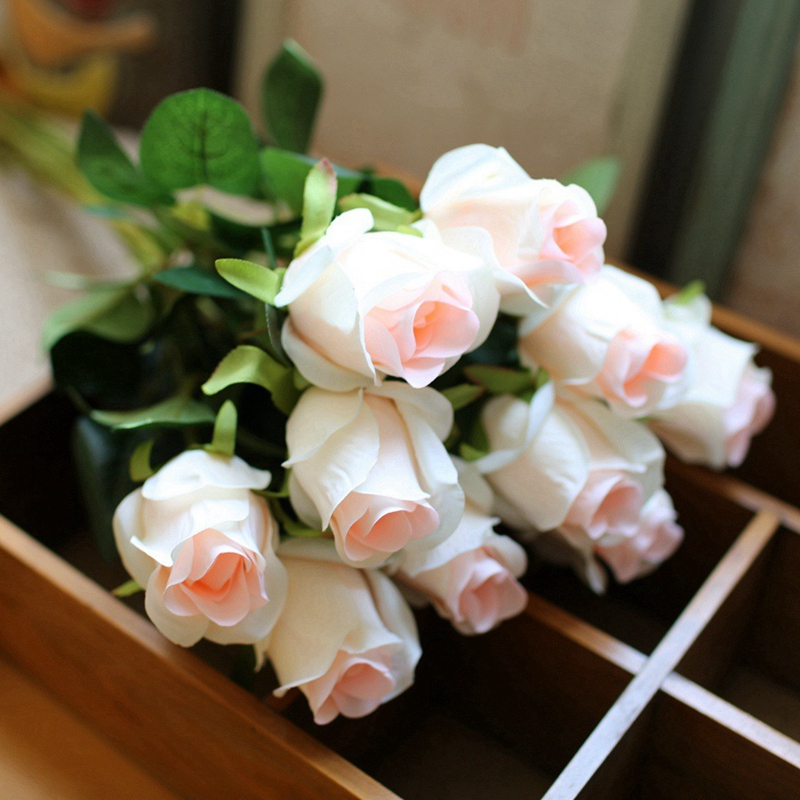 10pcs/lot High Quality Rose Artificial Flowers Desktop Silk Flower Simulation Fake Plant Wedding Party Decoration Home Decor