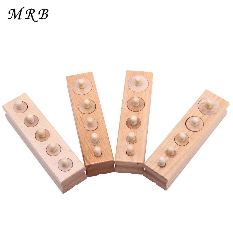 Babyleksaker Montessori-utbildning Träleksaker Matematisk cylinderuttagsfamilj Pack pack tidigt lärande 4 PCS / set leksaker för barn
