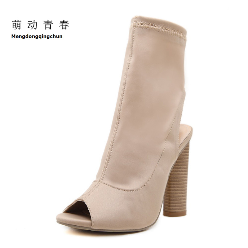 2018 Spring Fashion Women Boots Peep Toe Slingback Stretch Thick Heel Socks Boots Winter Botas Bootie Sapatos
