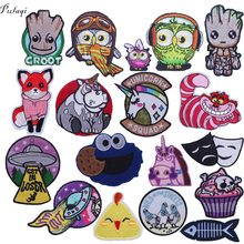 Pulaqi Cute Cartoon Unicorn Guardians The Galaxy Patches For Backpack Iron On Patch DIY Kids Clothing Tree Man Decoration F