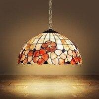Tiffany Mediterranean Sea Style Natural Shell Lampshade Pendant Lights LED Lamparas Colgantes Lustre Vintage Lamp Hanging