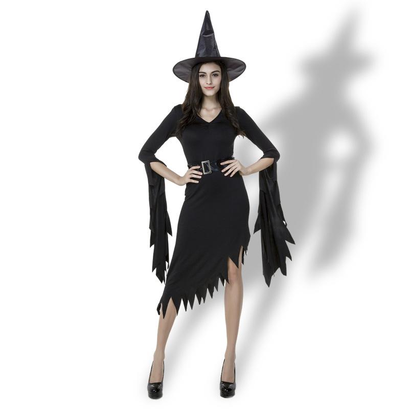 Halloween Adult Irregular Black Dress Carnival Gothic Witch Cosplay Costumes V-neck Sexy Fancy dress for women