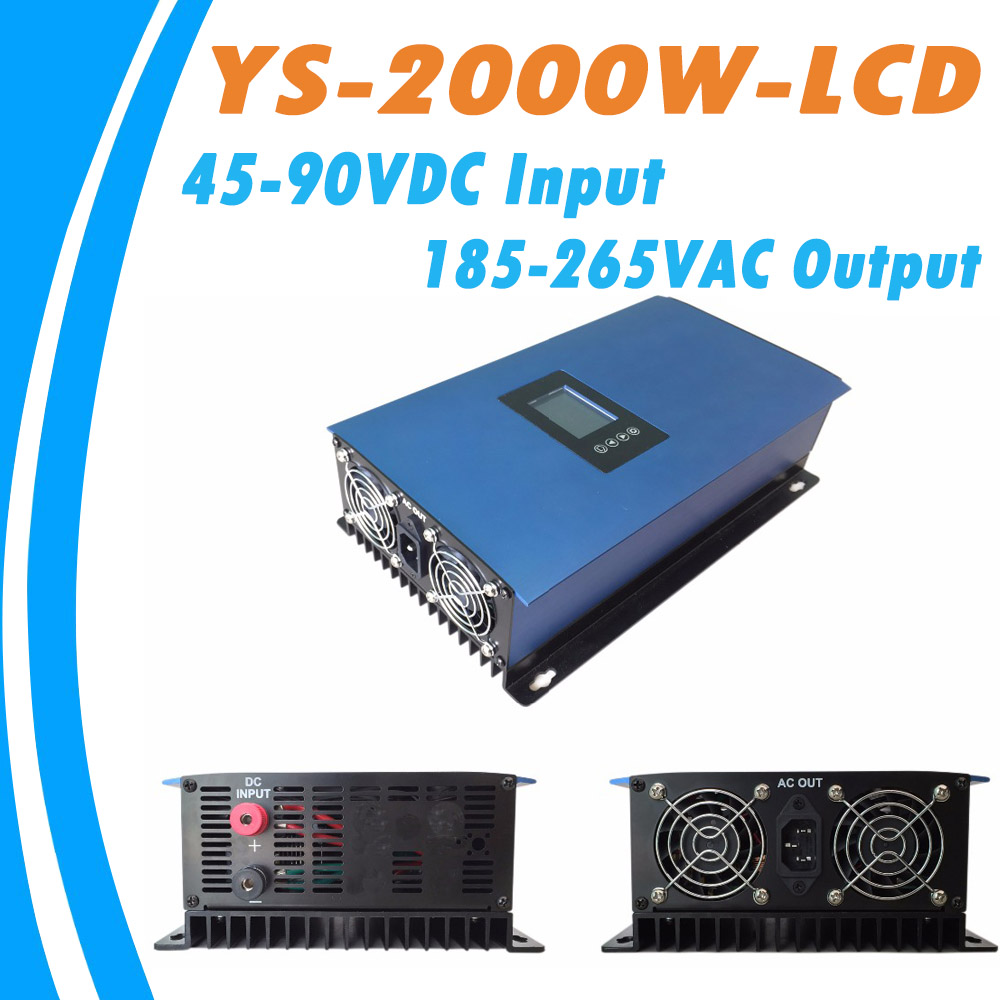 2000W Solar Pure Sine Wave MPPT On Grid Tie Inverter DC 45-90V Input to AC185-265V Output High Efficiency Converter for Home PV maylar 22 60v 300w solar high frequency pure sine wave grid tie inverter output 90 160v 50hz 60hz for alternative energy