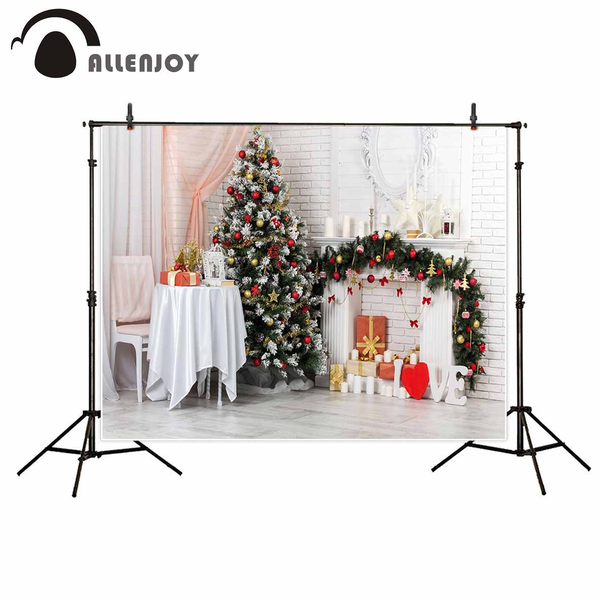 Allenjoy Christmas tree indoor white wall fireplace gift chair stars photo background photography studio funds christmas tree backdrop photography allenjoy wooden carpet fireplace xmas tree background photographic studio vinyl camera