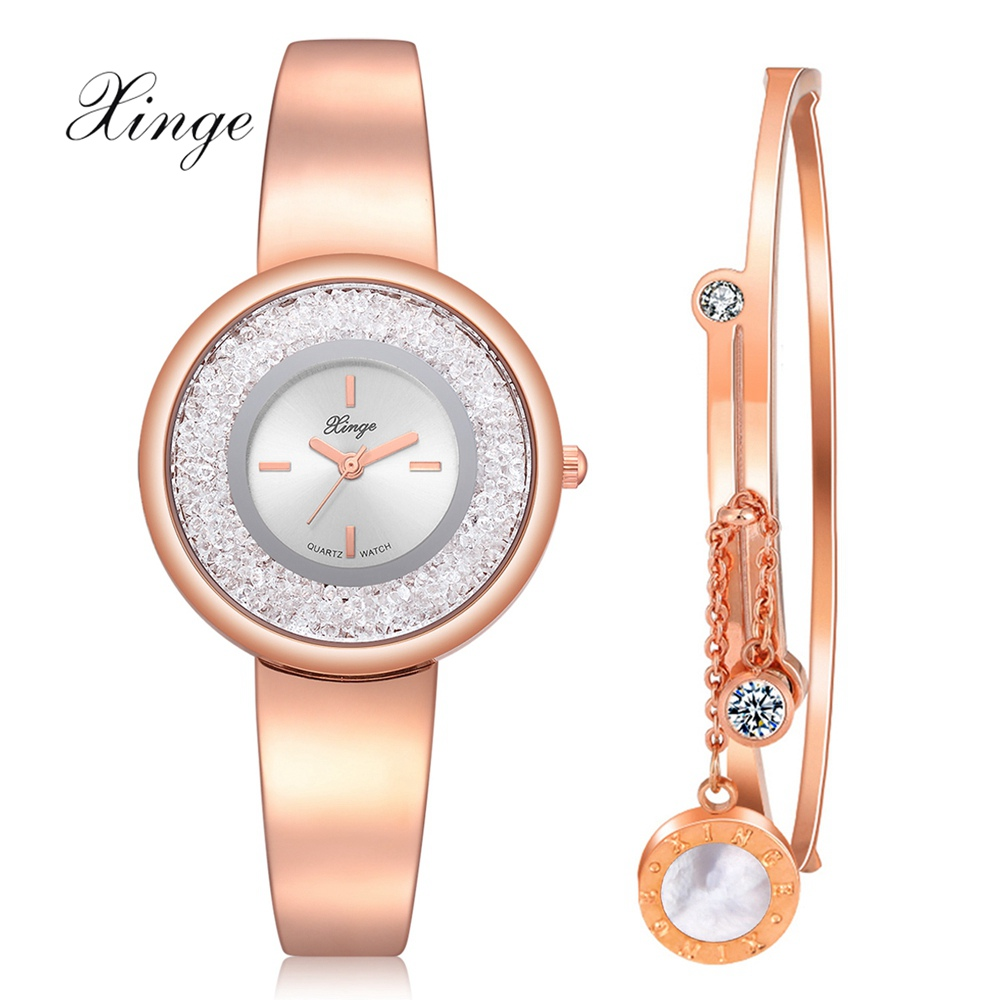цена на XINGE Brand Luxury Bracelet Set Quartz Watches For Women Fashion Ladies Dress Creative Watch Clock Relogio Feminino