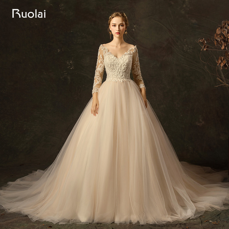 V Neck Wedding Gown: Elegant Wedding Dresses Long Sleeve 2019 Off The Shoulder