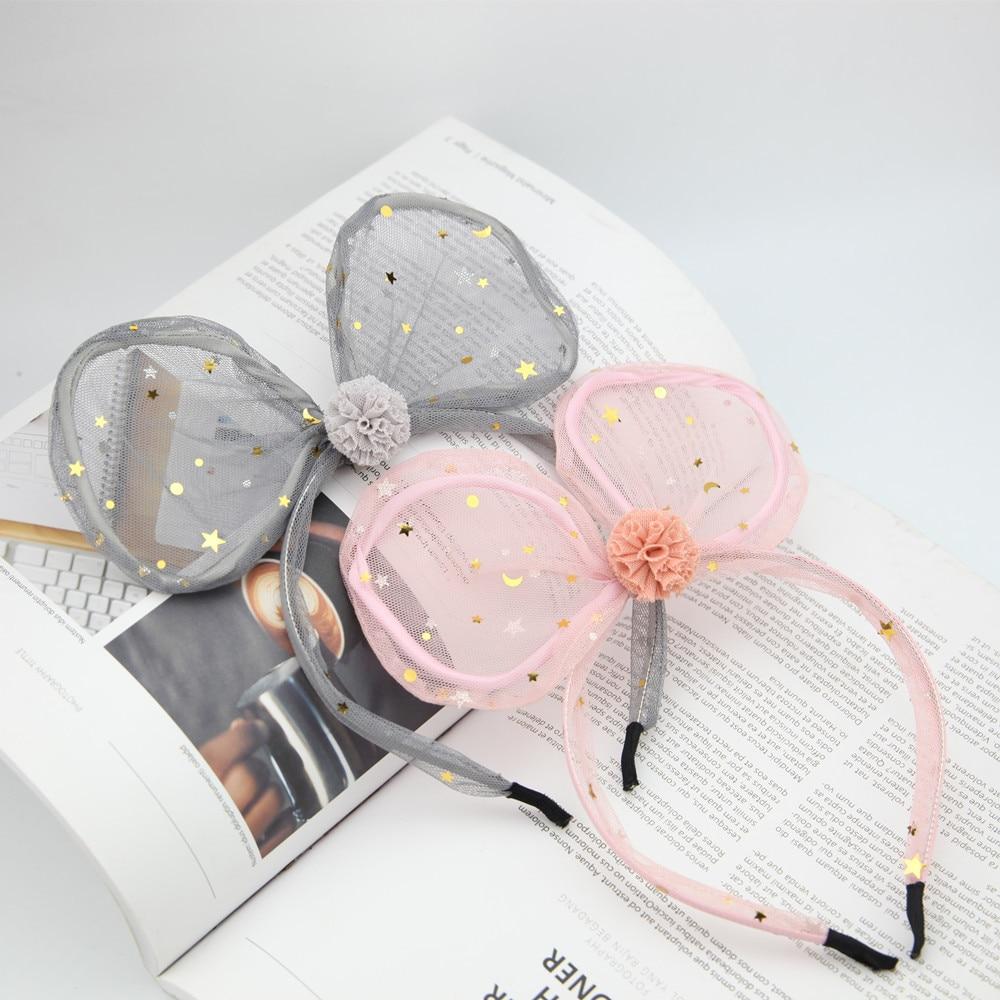 Fashion New Sweet Gold Star Moon Sequin Mesh Bow Headband Cute Rabbit Ears Lace Head Buckle Women Girls Headwear Halloween Gift