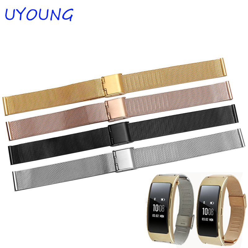 15mm 16mm Milanese mesh belt quality stainless steel watchband black silver for Huawei B2 B3 smart watches accessories15mm 16mm Milanese mesh belt quality stainless steel watchband black silver for Huawei B2 B3 smart watches accessories