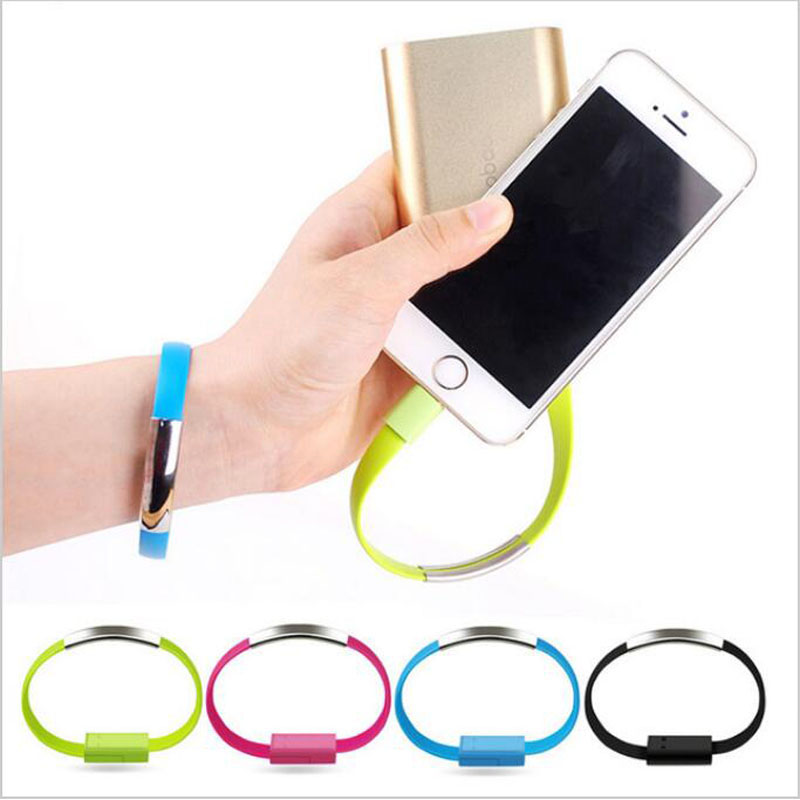Flat Wire Bracelet 8 Pin USB Charger Cable Charging Data