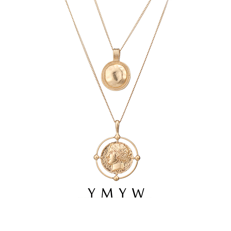 a87a4cd3d YMYW Trendy Vintage Golden Portrait Coin Double Layers Pendant Necklaces  Baroque Medusa Long Metal Chain Women