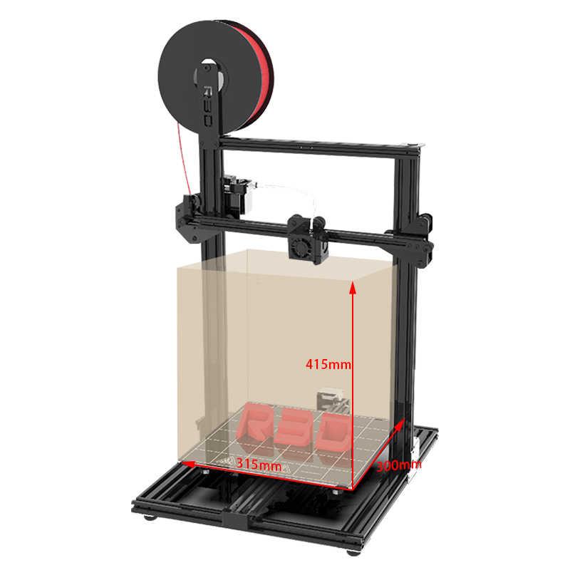 Металлическая структура один экструдер двойной вентилятор DIY 3d принтер комплект со стеклянной кроваткой большой размер печати Горячий Конец 3D Drucker
