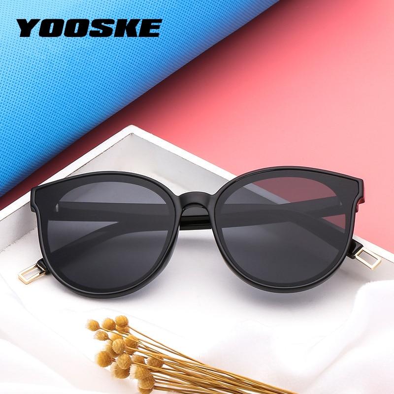 YOOSKE Vintage Ronde lunettes de Soleil Femmes Marque Designer 2018 Cat Eye  Lunettes de Soleil Pour 61e80d3d01ae