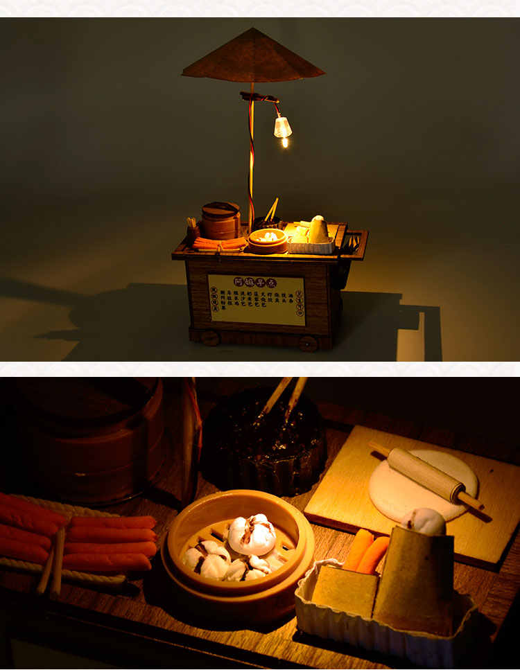 Luxury lighting House building wooden model kits DIY Breakfast booth wood model Christmas gifts Include detailed English manuals