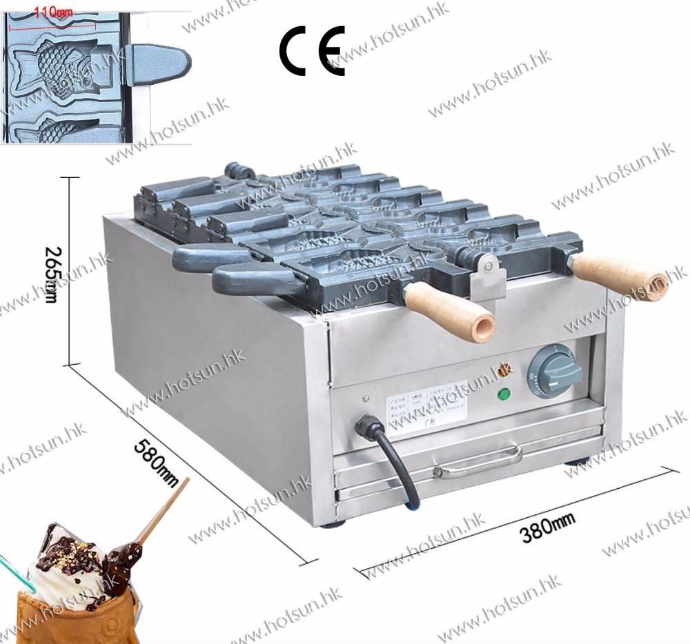 5pcs Bungeoppang Fish Waffle Commercial Use Non-stick 110v 220v Electric Ice Cream Taiyaki Iron Baker Machine Maker commercial non stick 110v 220v electric 12pcs taiyaki fish waffle maker iron machine