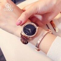 GUOU Watch Women Exquisite Luxury Diamond Quartz Watch Fashion Brand Dress Women Watches Leather Wristwatch Relogio