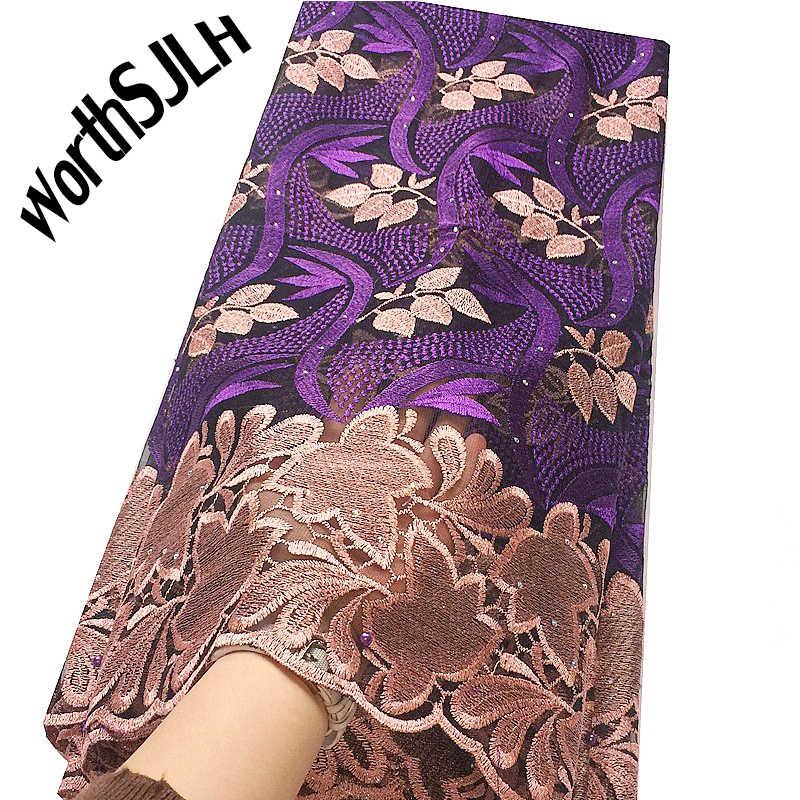 WorthSJLH Tessuto Africano Del Merletto 2019 del Cavo di Alta Qualità Tessuto Del Merletto Nigeriano di Cerimonia Nuziale Francese Tulle Net Tessuto di Pizzo Per Abiti