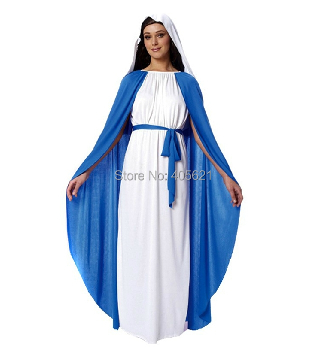 Adult Bible Nuns Virgin Mary Dressed 2014 New Arrival Classic Halloween Costumes Christmas Makeup Cosplay Dress Clothes